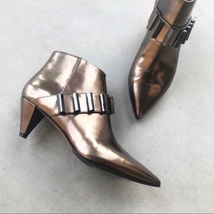AQUATALIA Metallic Copper Pointy Toe Ankle Booties
